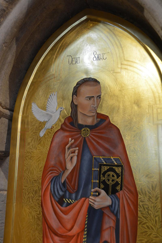 Icon of Saint David in the shrine at St David's Cathedral, Pembrokeshire