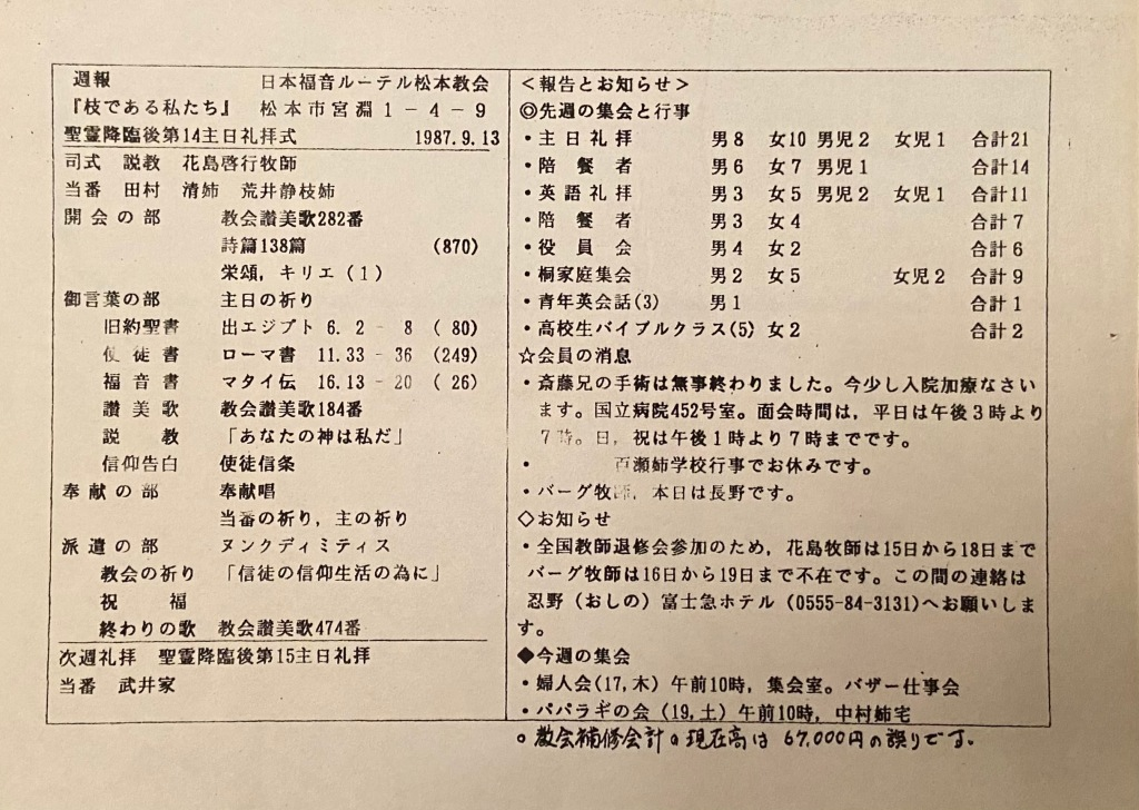 Weekly notices - Matsumoto Lutheran Church - 13th Sept 1987